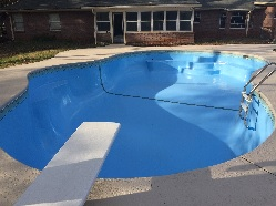 Pool painted woth Ultra Poly One Coat - Pool Blue.