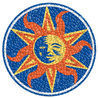 The Sun pool art graphic mosaic mat.