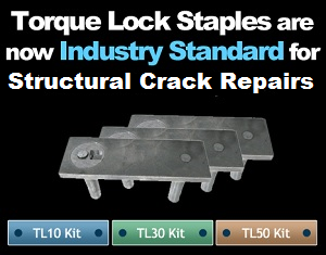 Torque-Lock Staples make structural concrete crack repairs.