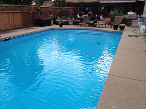 Pool painted with Ultra Poly One Coat Pool Blue