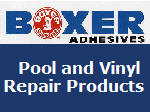 Boxer Adhesives pool and Vinyl Repair Products.